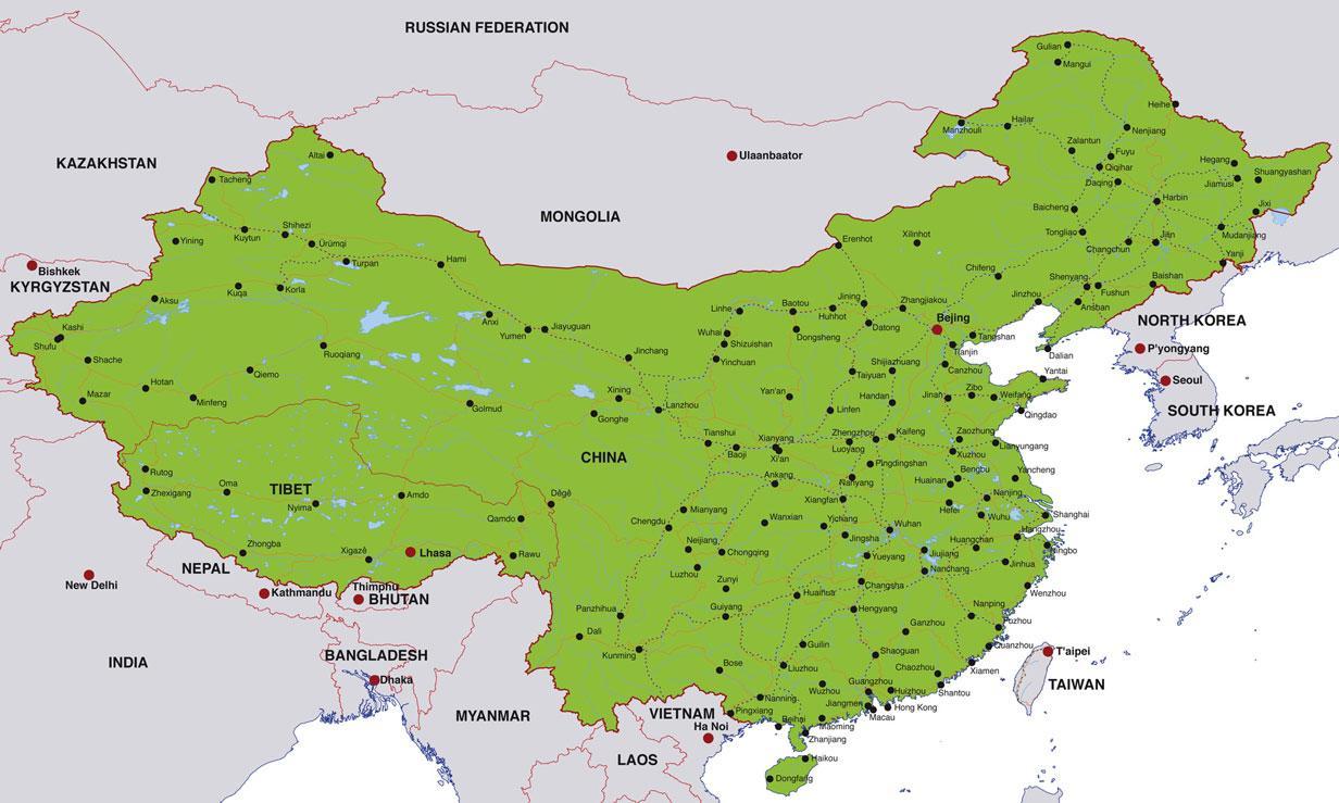 Ciudades De China Mapa.Mapa De Ciudades De China China Mapa De Las Ciudades Del