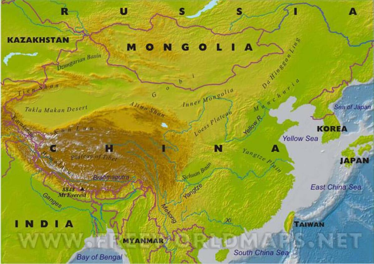Mapa Fisico De China.China Mapa Fisico Mapa De China Fisica Asia Oriental Asia