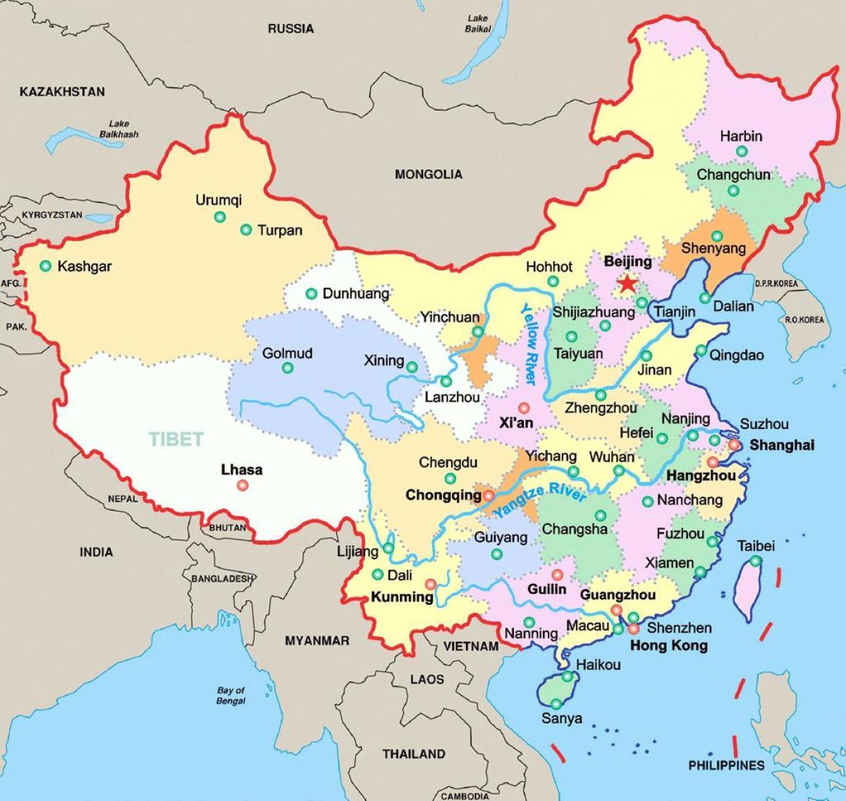 Ciudades De China Mapa.Mapa De China Con Las Principales Ciudades De China Las